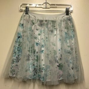Lauren Conrad Floral Skirt with Sea Foam Mesh Over